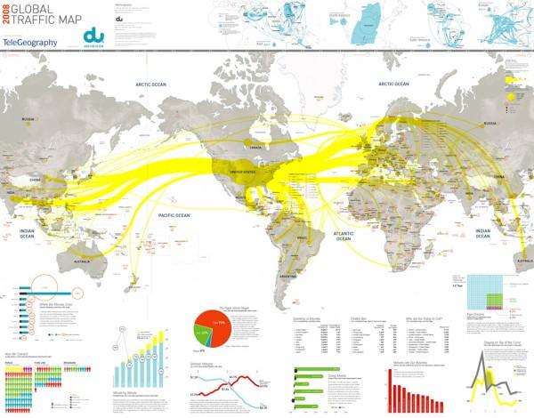 Карта потока интернет-трафика в мире