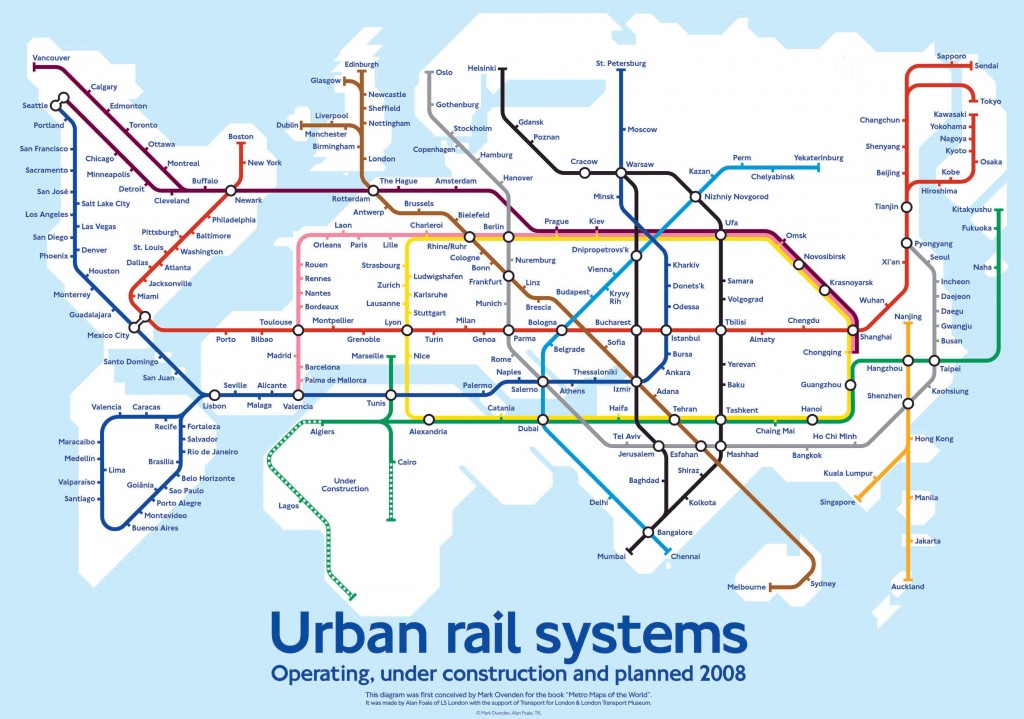 Мировая карта городских железнородожных путей