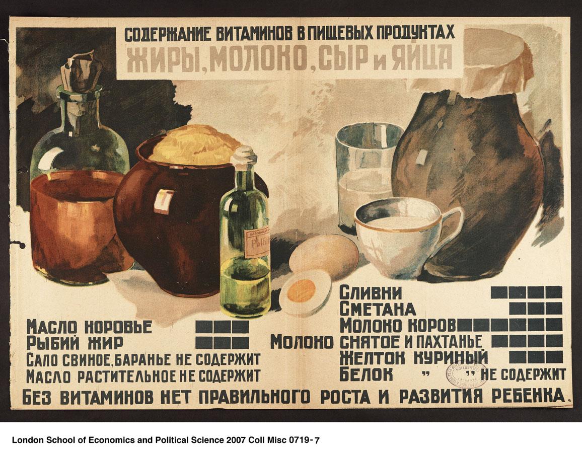 Содержание витаминов в молочных продуктах (СССР, 1930 г)