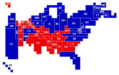 Финальная избирательная картограмма 2008