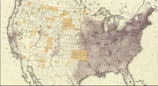 Карта населения США 1870. Фрэнсис Амаса Уокер