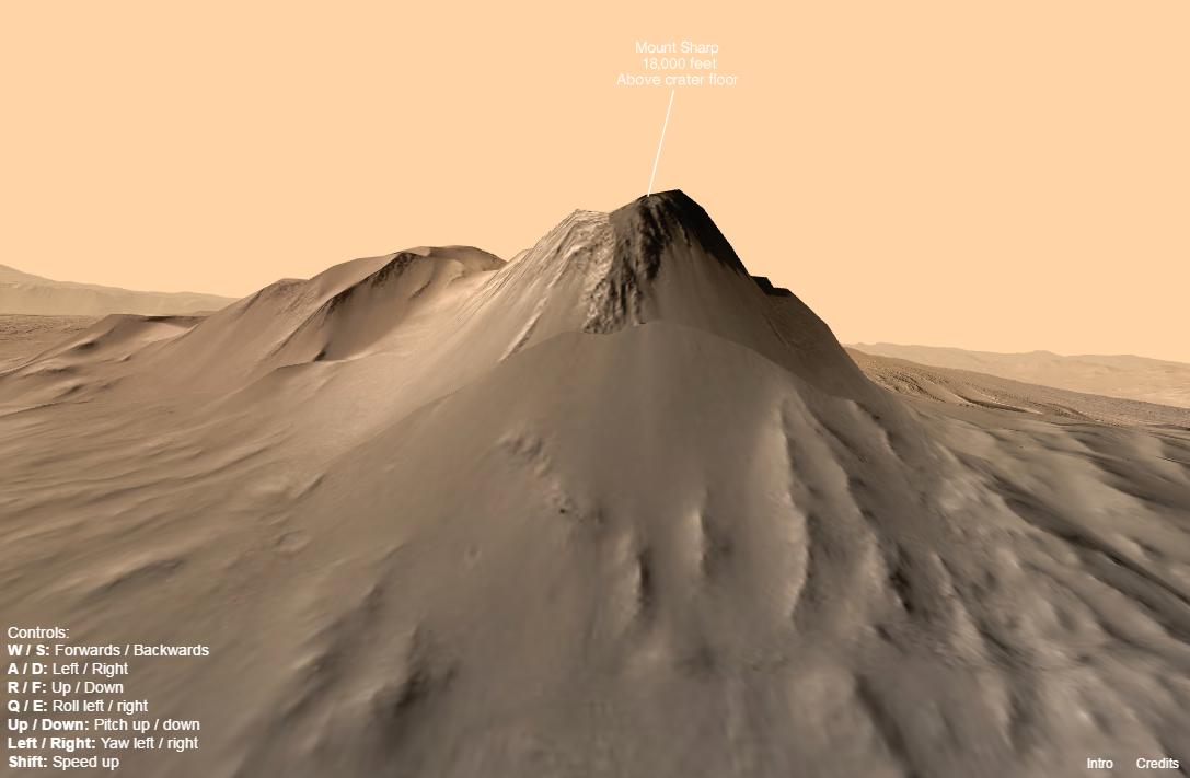 Кратер вулкани Gale на Марсе в виртуальной реальности