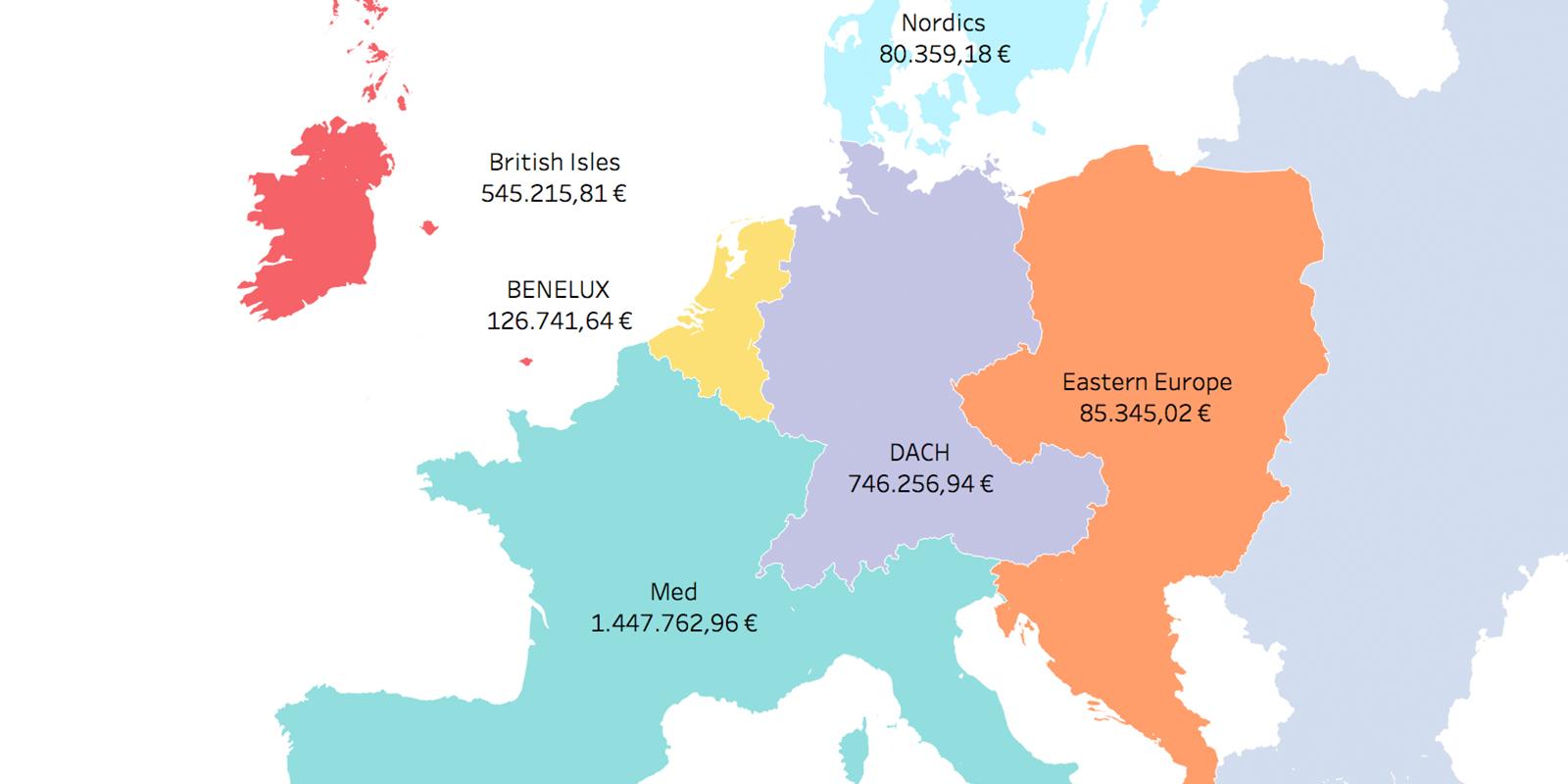 Данные можно группировать и отбражать по географическим зонам